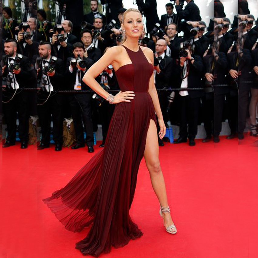 Most Popular Marsala Elegant Halter Strapless Chiffon Side Slit Sexy Long Formal Prom Gown 2018 Mother Of The Bride Dresses