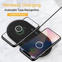 10 w rápido qi carregador sem fio dupla almofada de carregamento sem fio para iphone 11 pro 8 xs max samsung s10 rápido carregador sem fio almofada fina