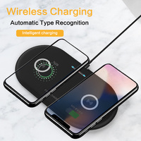 10W Fast Qi Wireless Charger Dual Wireless charging Pad for iPhone 11 pro 8 XS Max Samsung S10 Fast Wireless Charger Slim Pad|Wireless Chargers|Cellphones & Telecommunications -