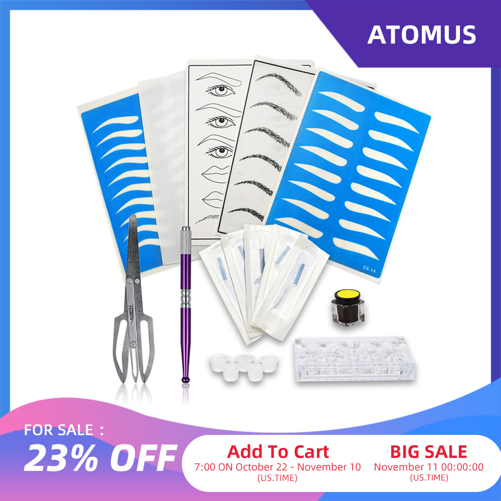 ATOMUS Microblading Kit Professional 3D Permanent Eyebrow Tattoo Practice Set Microblading Pen Tattoo Pigment Ink Cup Holder