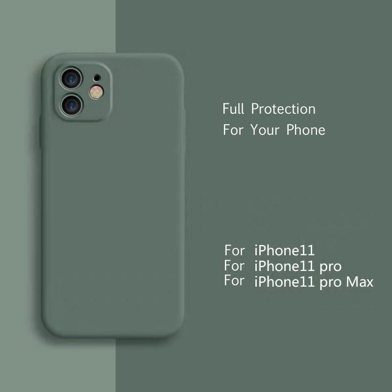 Coque pour iPhone 11 Pro Max housse de protection en Silicone liquide mat housse souple pour Apple iPhone 11 housse de protection vert minuit