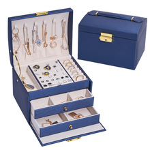 New Color PU Leather 3 Layers Jewelry Organizer Box Exquisite Women Girls Gift Display Holder Earring Ring Necklace Storage Case