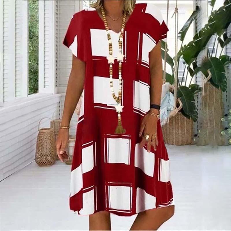 Summer Lattice Print Casual Dress Women's V-neck Short Sleeve Vintage Dresses For Women Plus Size Beach Boho Loose Midi Dress 5