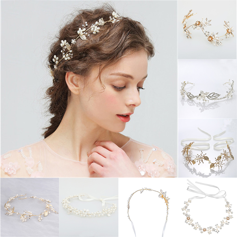 Flowers Bridal Hairband Metal Leaf Women Jewelry Accessories Trendy Handmade Bride Headwear Gold Head Hoop Charms Leaf Headdress