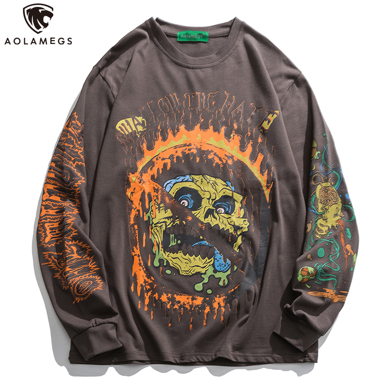 Aolamegs Hip Hop Sweatshirt Men Skull Printed Pullover Ukiyo-e Casual High Street Long Sleeve O-Neck Hoodies Fashion Streetwear