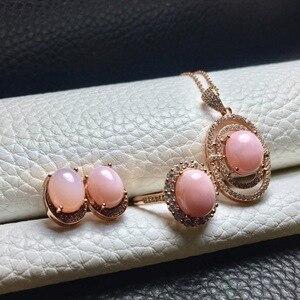 Image 3 - MeiBaPJ Natural Pink Opal kolczyki z kamieniami szlachetnymi pierścionek i naszyjnik 3 garnitur dla kobiet prawdziwe 925 srebro Fine Jewelry Set