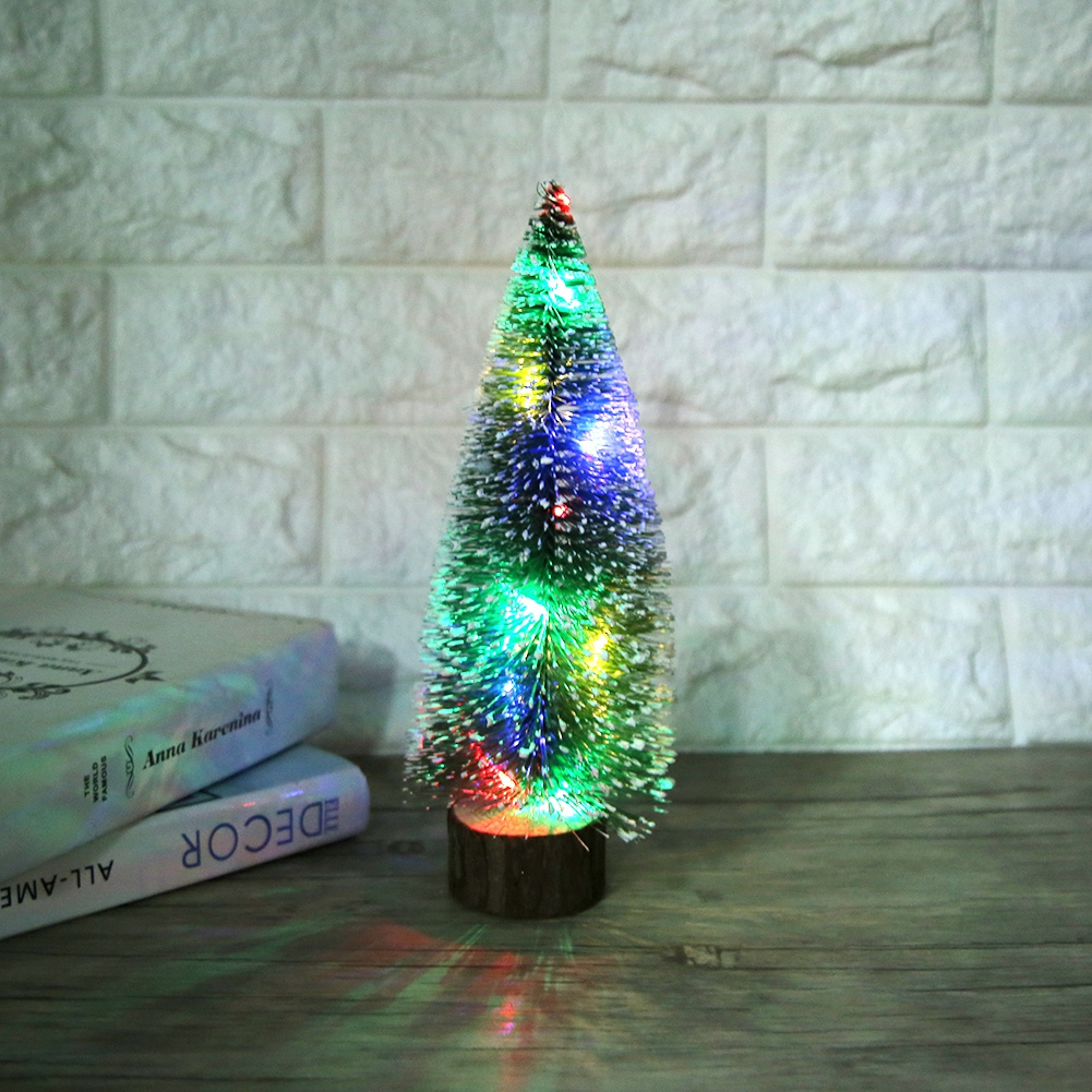 Desktop LED Lights Mini Christmas Tree Decoration Home Xmas Festival Gift Ornament Kids New Year Toys Artificial Tree Xmas Gifts