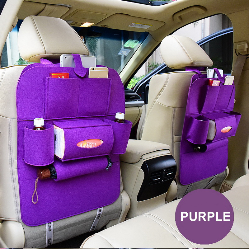 Purple Car Seat Back Multi-Pocket Storage Bag Organizer Holder Travel Hanger