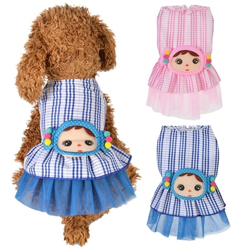Summer Dog Princess Dress Cute Little Girl Design Clothes For Small Medium Female Dog Pet Plaid Printed Skirt Dress image