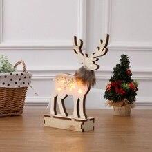 Christmas Pendant Unique Luminous Wooden Reindeer Decoration Cute Festive Party Supplies ZA