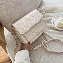 Small Crocodile Pattern PU Leather Flap  Bags for Women 2020 Simple Shoulder Crossbody Handbags Chain Cross Body Bag цена 2017