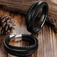 Trendy Genuine Leather Bracelet Men Multilayer Braided Rope Stainless Steel Magnet Clasp Bracelets Men Armband Homme Jewelry
