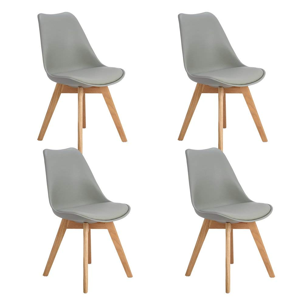 EGGREE Set Of 4pcs Tulip Padded Dining Chair With Oak Wood Legs For Dining Room And Bedroom - Grey - 2-8days EU Warehouse