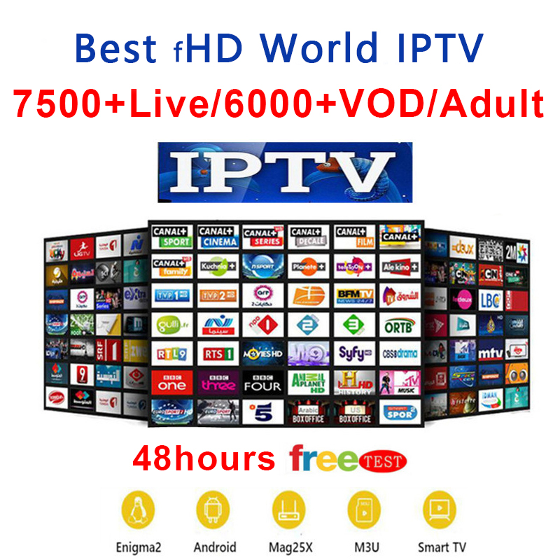 FHD World IPTV +7800 Live 6500 VOD 4K Channel Best For Europe Arabic Asian Africa Latino America Android M3U IPTV Subscription