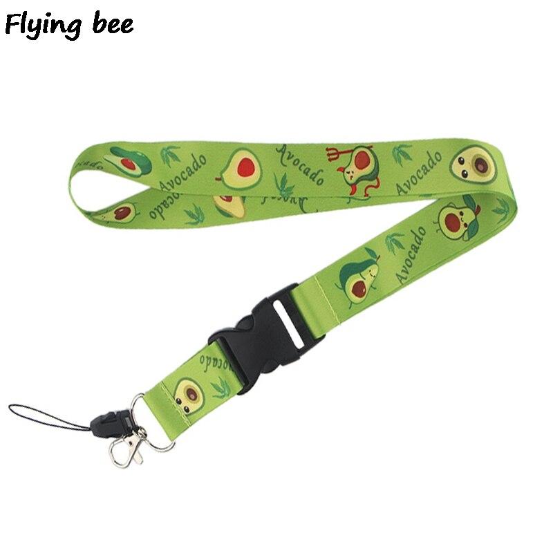 Flyingbee Cute Avocado Keychain Cartoon Fruit Phone Lanyard Women Fashion Strap Neck Lanyards For ID Card Phone Keys X0474