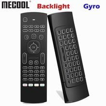 Mx3 backlight teclado controle remoto ar voar mouse 2.4g sem fio mini teclado 81 teclas com ir aprendizagem para android caixa de tv
