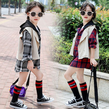 2pcs clothes for children girls set red plaid blouse with sleeve + vest kids girls t-shirt with hooded children soli vest set basik kids vest hooded gray melange kids clothes children clothing