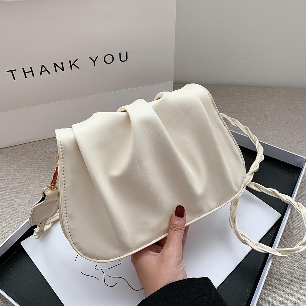 Casual Pleated Bucket Crossbody Bag PU Women Chain Solid Color Shoulder Handbag Fashion Exquisite Shopping Bag