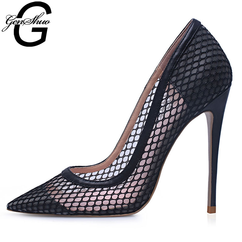 GENSHUO Sexy Shoes Woman Party Pointed Toe Black Heels Ladies High Heels Pumps 10CM/12CM Dress Shoes Size 5-12 Women's Shoes