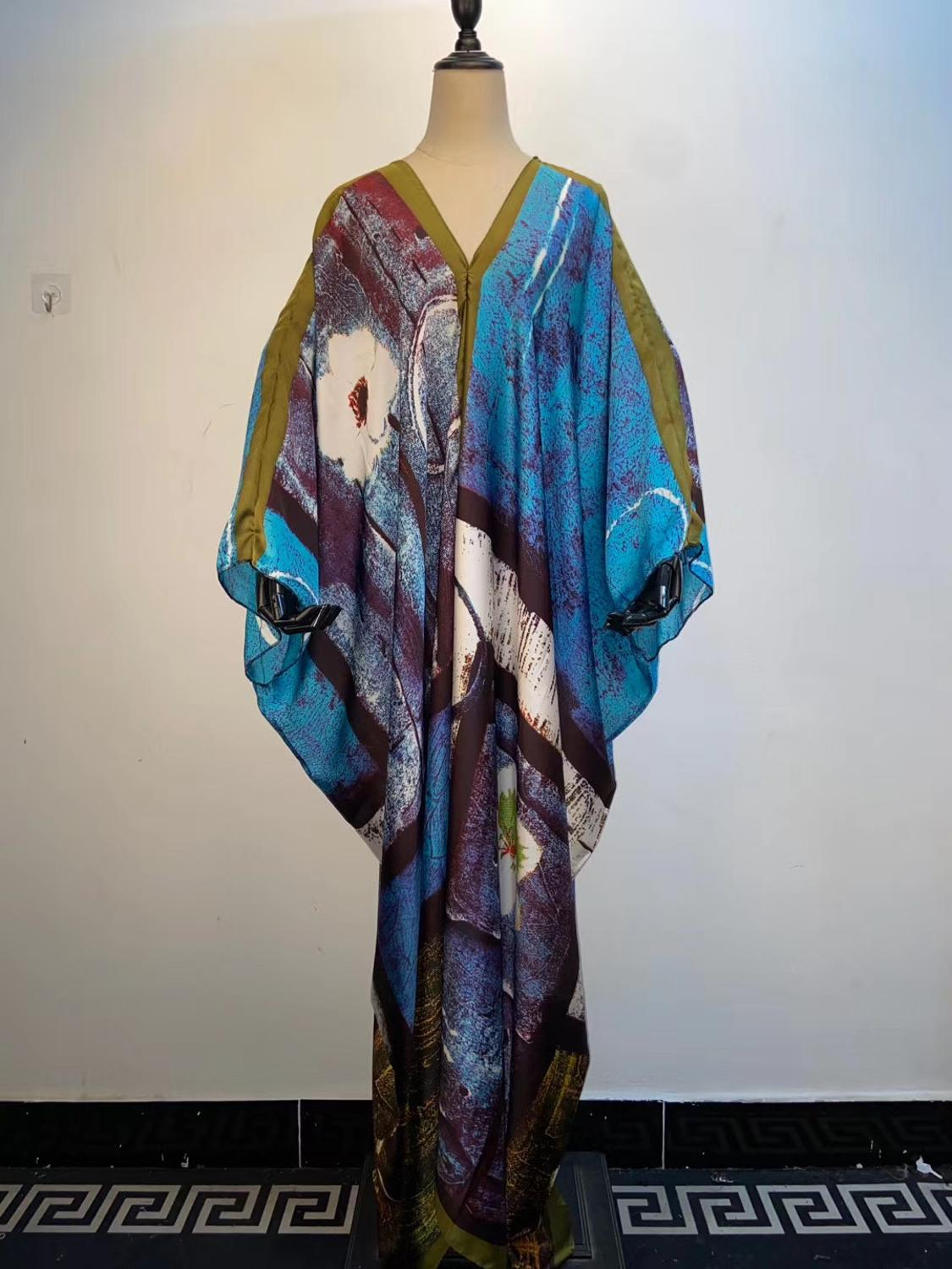 Amazing New Fashion Multi Color Summer Silk  Kaftan Long Dresses Sexy V-neck Holiday Beach Lady Dress African Clothing