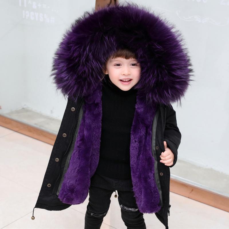 2020 Autumn Winter Children Girl Boys Thick Warm Faux Rex Rabbit Fur Liner Kids Hooded Coat Fashion Teenage Parkas Outwear K189