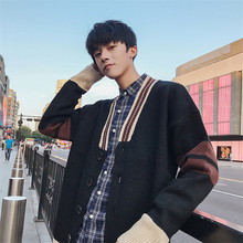 Winter New Cardigan Men Fashion Contrast Color Casual Knit Sweater Man Streetwear Loose Warm Jacket Male Clothes M-3XL