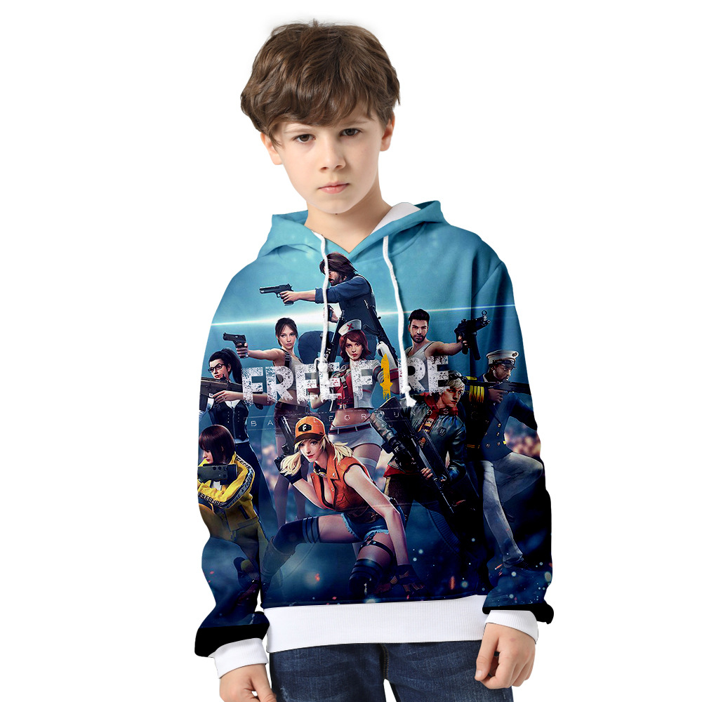 2 To 14 Years Kids Hoodies Free Fire Shooting Game 3d Hoodie Sweatshirt Boys Girls Long Sleeve Jacket Coat children Clothes