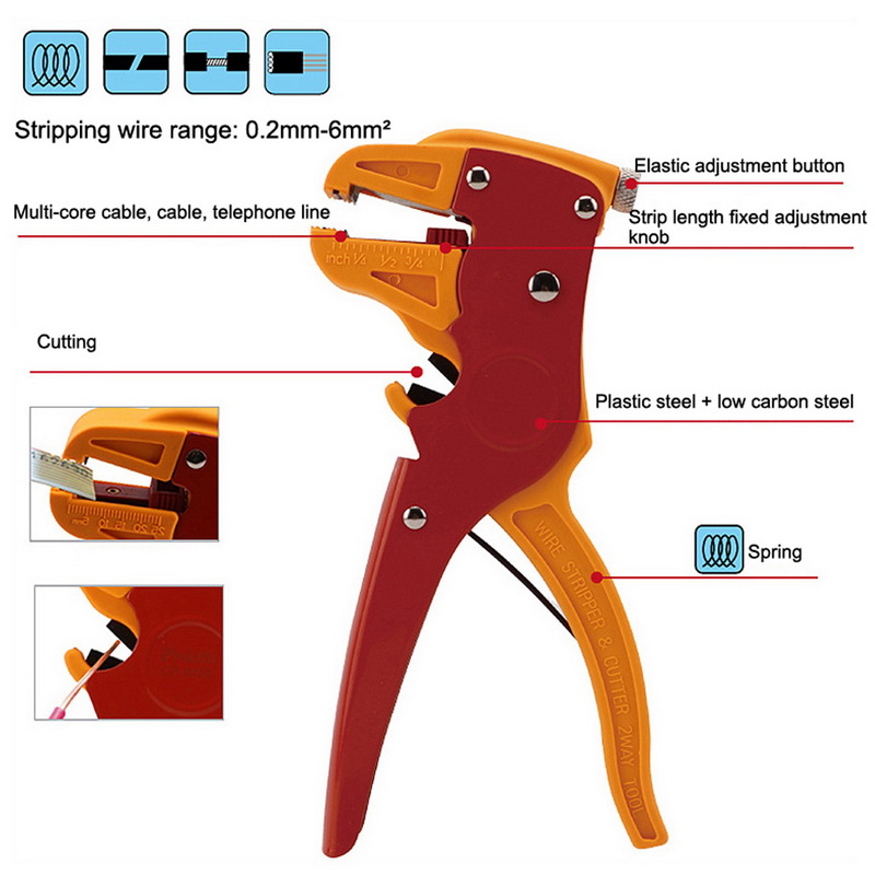 1PCS High Quality Automatic Self Adjusting Cable Wire Stripper Crimper Stripping Cutter Pliers For Hand Tools(China)