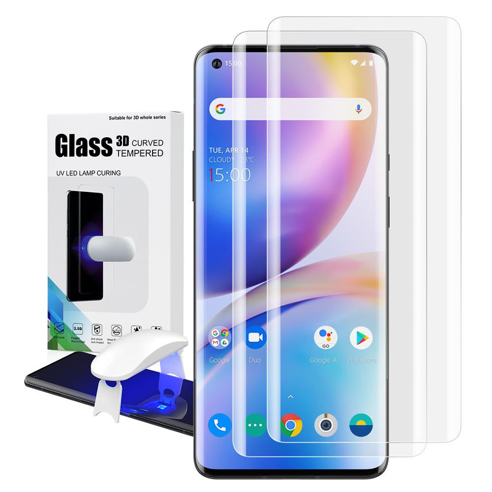 Screen Protector With Fingerprint Unlock For Oneplus 8 UV Glass Film Full Cover For Oneplus 8 Pro Tempered Glass