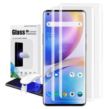 Screen Protector with fingerprint unlock for Oneplus 8 UV Glass film full cover for Oneplus 8 Pro tempered glass