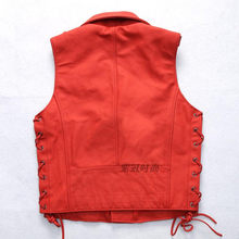 men's fashion genuine red adjustable waist slim fit sleeveless leather jacket men motorcycle vest male S-XXXL(China)