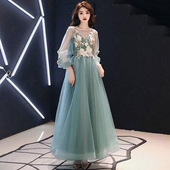 Green Flower Embroidery Women Cheongsam Half Sleeve Lace Evening Party Dress Beads Sequins Mesh Dress Floor Length Maxi Gown