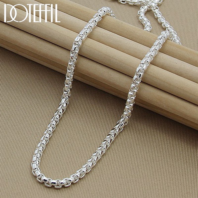 DOTEFFIL 925 Sterling Silver 5mm Round Box Chain 18/20/24 Inch Necklace For Woman Men Fashion Wedding Engagement Charm Jewelry