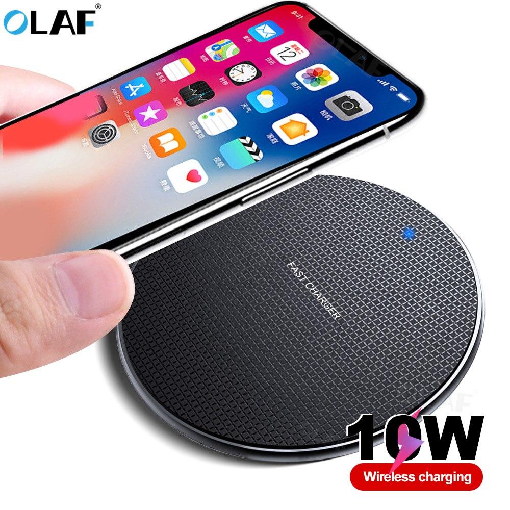 אולף אלחוטי טעינת מתאם עבור iphone 11 פרו 8 10W מהיר אלחוטי מטען תשלום עבור סמסונג S10 S9 בתוספת Qi מטען אינדוקציה