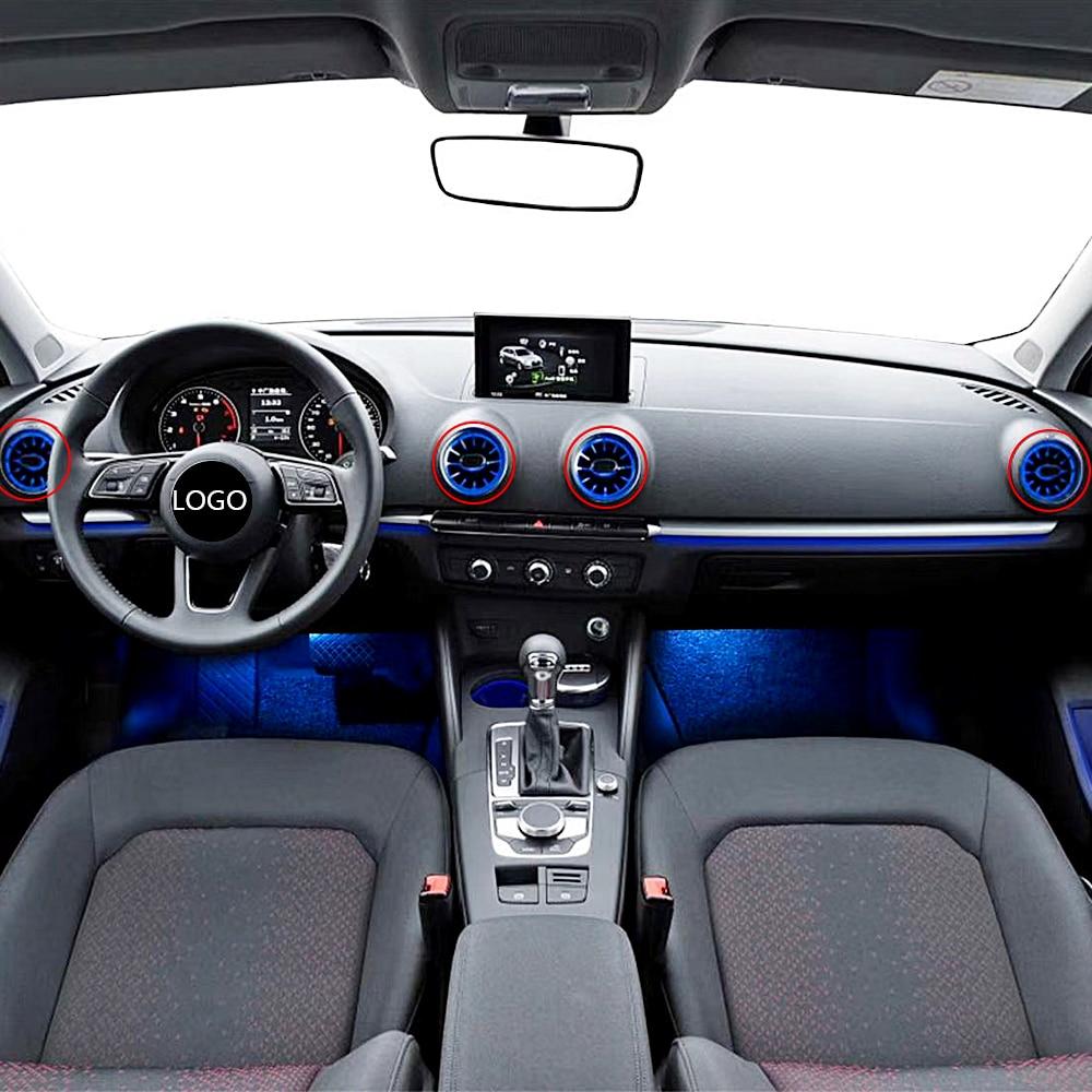 Frente do carro ventilação ambiente linght para audi a3 auto interior saída de ar fulgor iluminação 32 cor néon led iluminação da lâmpada tuning - 3