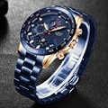 LIGE Mens Watches Top Brand Luxury Business Stainless Steel Waterproof Chronograph Male Quartz Clock Watch Men Relogio Masculino