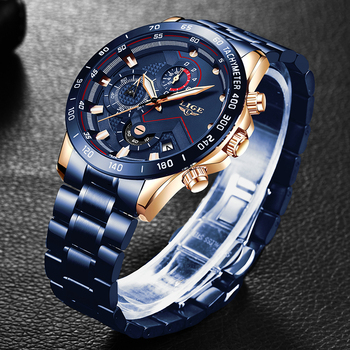 LIGE Mens Watches Top Brand Luxury Business Stainless Steel Waterproof Chronograph Male Quartz Clock Watch Men Relogio Masculino top brand luxury casual lady quartz watch stainless steel strap wrist watches classic clock relogio masculino for womens girls