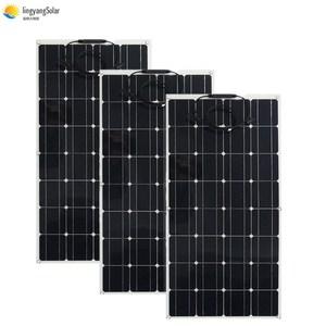 Image 2 - 中国柔軟なソーラーパネル 100 ワット 18v 太陽光パネルソーラーキャンプライト 12v バッテリー充電器、モノラル太陽電池オスとメスのコネクタ