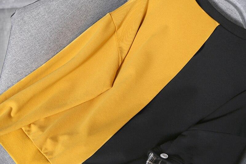[EAM] Loose Fit Black Plaid Irregular Sweatshirt New Round Neck Long Sleeve Women Big Size Fashion Tide Spring Autumn 2020 1Y233 6