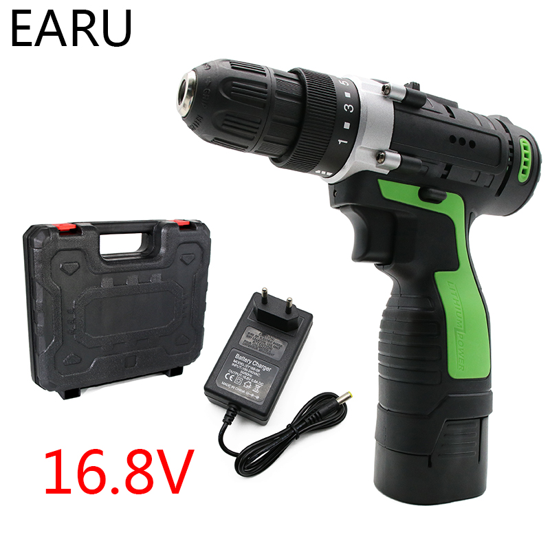 16.8V Max Rechargeable Electric Screwdriver Cordless Drill Mini Wireless Power Driver DC Lithium-Ion Battery 3/8-Inch 2-Speed image