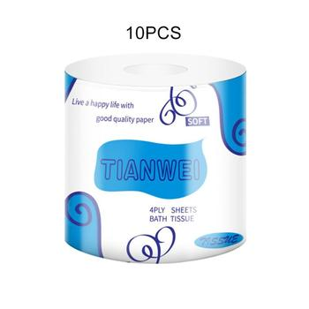 10 rolls Toilet Paper Bamboo Pulp Roll Paper Facial Tissue Roll Paper Household Logs Hollow Core Napkin Paper