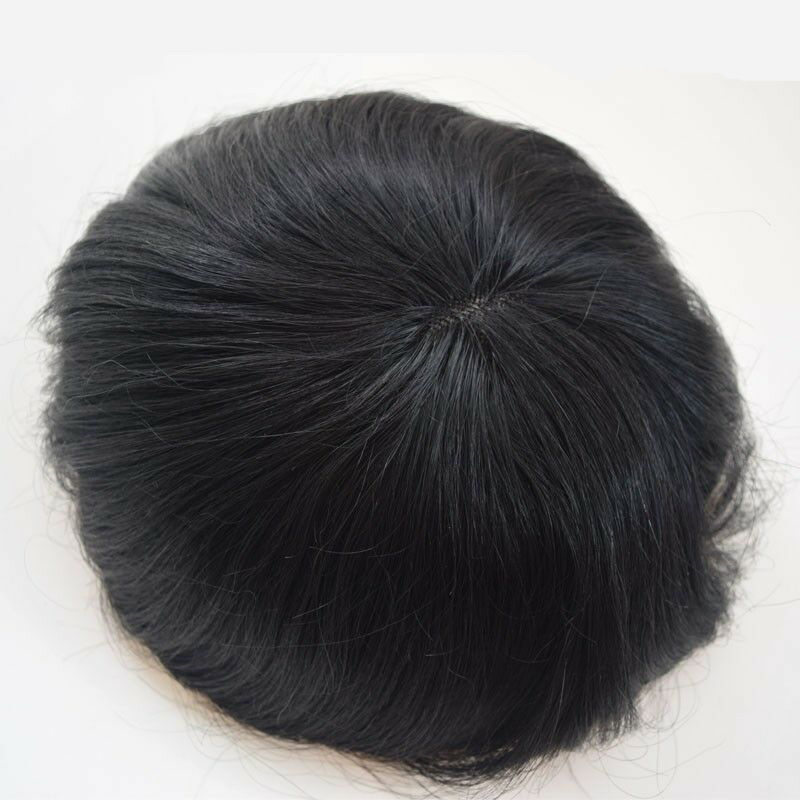 BYMC Fine Mono Mens Toupee Men'Fashion Hairpieces Human Hair Replacement Systems for Men Hair Loss Solutions Corta Pelo Hombre
