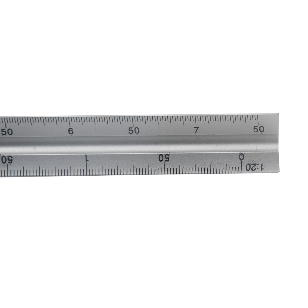 30cm Clear Aluminum Alloy Silver Scale Engineer Technical Ruler Triangle Accurate Architect