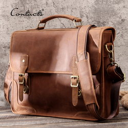CONTACT'S Casual Men Handbags Crazy Horse Leather Men Briefcase Business Laptop Bag for 15.6 Male Messenger Shoulder Bags Brand