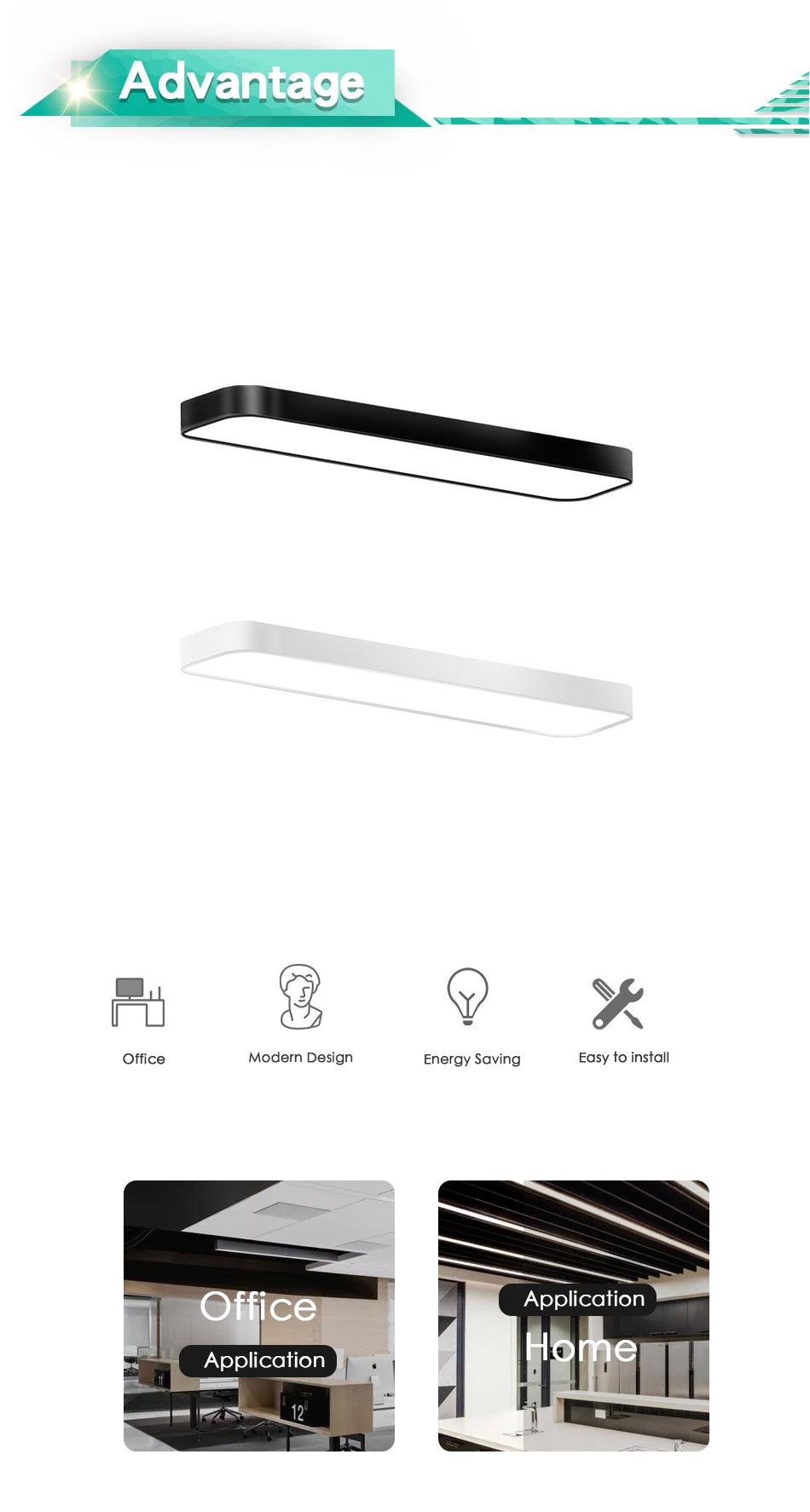 Modern LED Ceiling Light Lamp Lighting Fixture Rectangle Office Remote Bedroom Surface Mount Living Room Panel Control 110V 220V