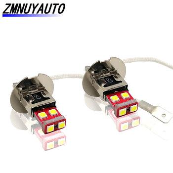 2 sztuk H3 6SMD 3030 przednie światło przeciwmgłowe samochodu Auto H1 Led lampa jazdy dzień działa żarówki biały tanie i dobre opinie ZMNUYAUTO 12 V CN (pochodzenie)