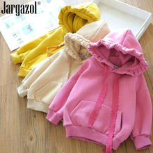 Toddler Girls Sweat Shirt Long Sleeve Hooded Shirts Fashion Winter Outfits Spring Jackets Cute Baby Girls Solid Tops Children
