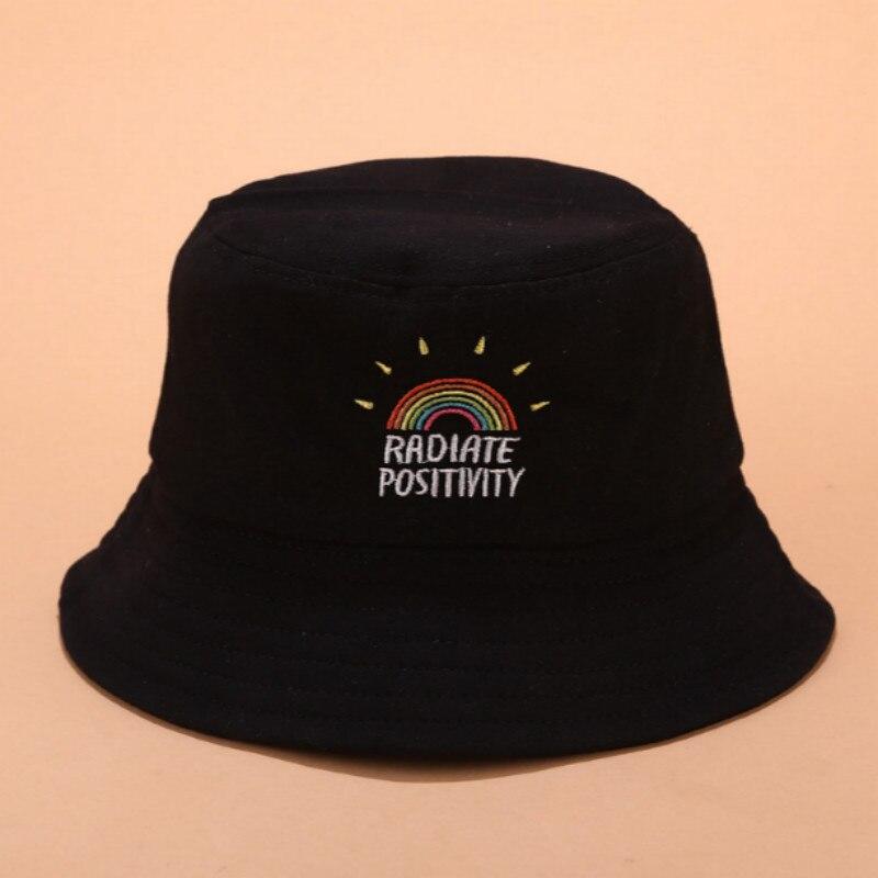 Giney Arcobaleno ricamo Pescatore cappello moda donne arcobaleno stampato tela pieghevole allaperto secchio cappello sole cappello cappello fiero
