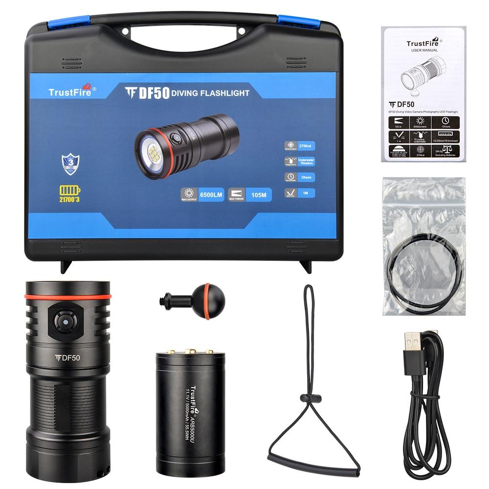 Trustfire df50 vídeo lanterna de mergulho 6500