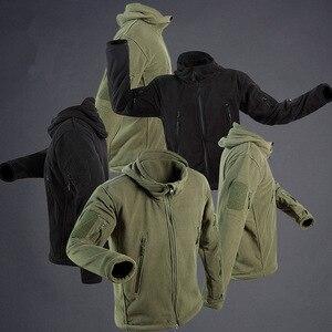 Image 3 - Chaqueta con capucha a prueba de viento para hombre, forro polar táctico para tiro de montaña, micro térmico, polar, ropa militar transpirable